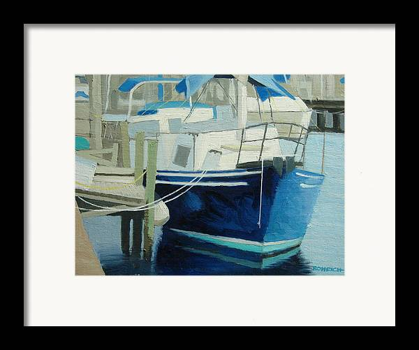 Boat Marinas Framed Print featuring the painting Marina No1 by Robert Rohrich