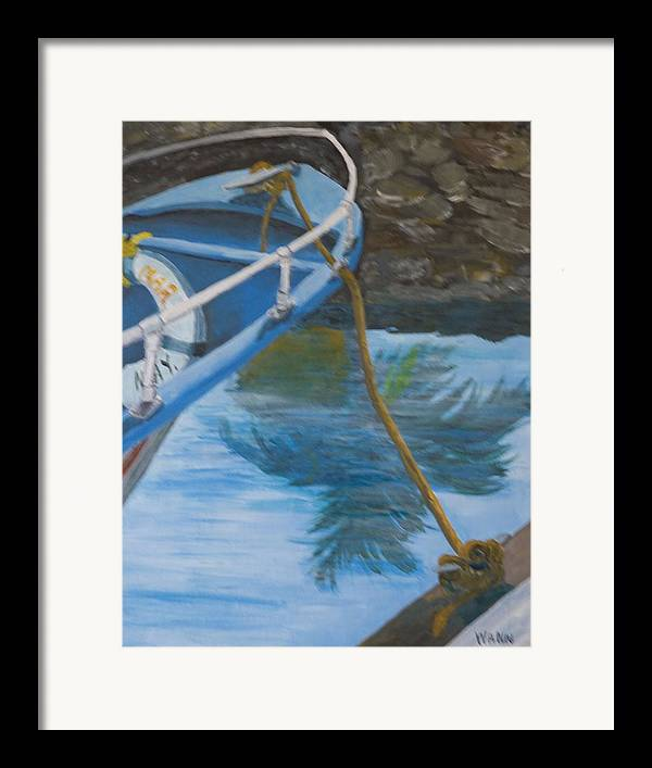 Marine Framed Print featuring the painting Marina Reflections by Anita Wann
