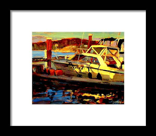 Boat Paintings Framed Print featuring the painting Marina Sunset by Brian Simons