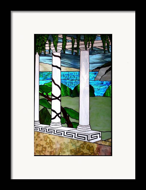 Landscape Framed Print featuring the glass art Marina's Terrace by Barbara Harris