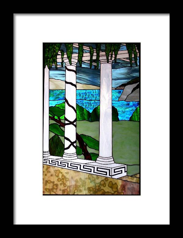 Landscape Framed Print featuring the glass art Marina's Terrace by Barbara Harris