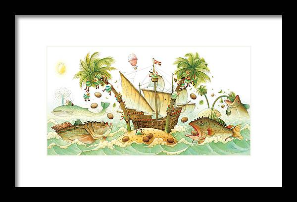 Eggs Easter Marine Framed Print featuring the painting Marine Eggs by Kestutis Kasparavicius