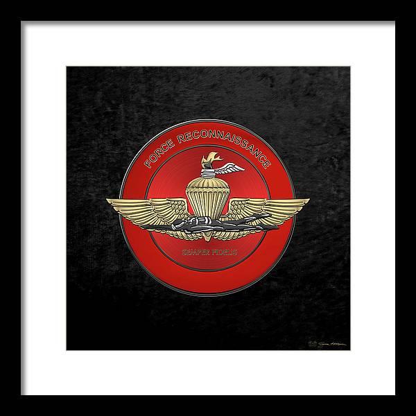 Marine Force Reconnaissance  -  U S M C   F O R E C O N  Insignia over Black Velvet by Serge Averbukh