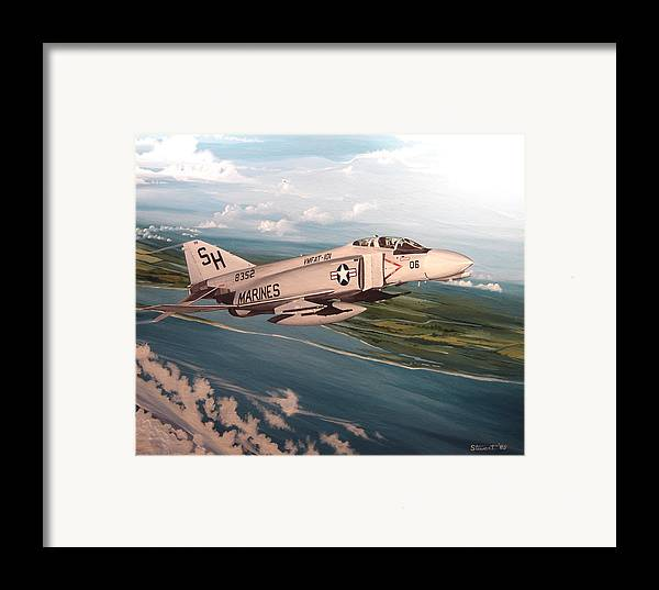Aviation Framed Print featuring the painting Marine Phantom by Marc Stewart