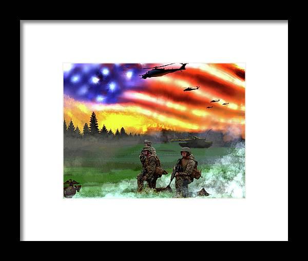 Marines Framed Print featuring the digital art Marines by Josh Burns