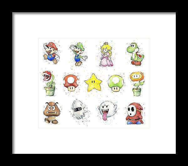 Mario Framed Print featuring the painting Mario Characters in Watercolor by Olga Shvartsur