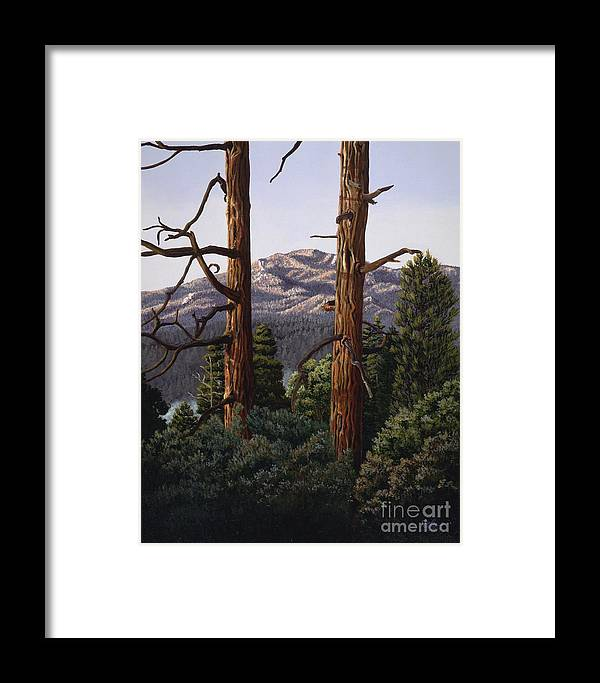 Landscape Painting Framed Print featuring the painting Marion Mountain At Sun Set by Jiji Lee