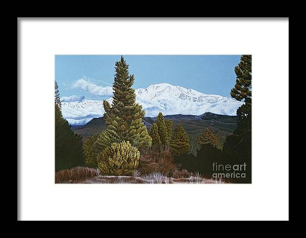 Landscape Framed Print featuring the painting Marion Mountain In Winter by Jiji Lee