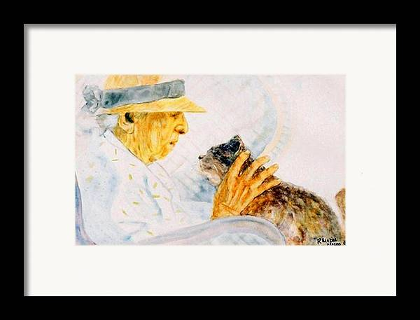 Marjory Framed Print featuring the painting Marjory And Her Cat by Ruth Mabee