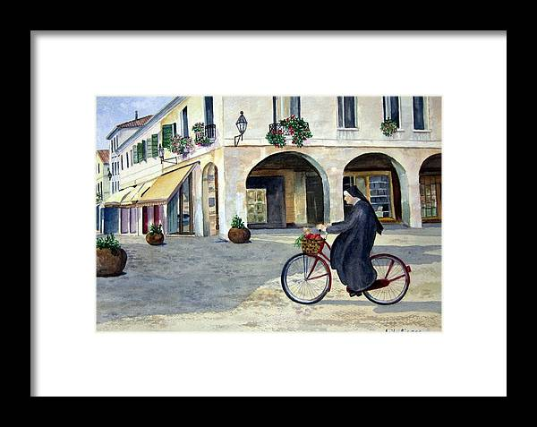 Nun On A Bicycle Framed Print featuring the painting Market Day by Anita Riemen
