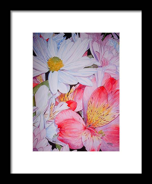 Garden Framed Print featuring the painting Market Flowers - Watercolor by Donna Hanna
