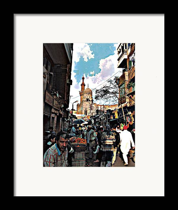 Medieval Cairo Framed Print featuring the digital art Market by Noredin Morgan