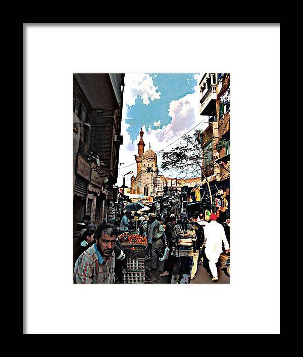 Medieval Cairo Framed Print featuring the digital art Market by Noredin Morgan