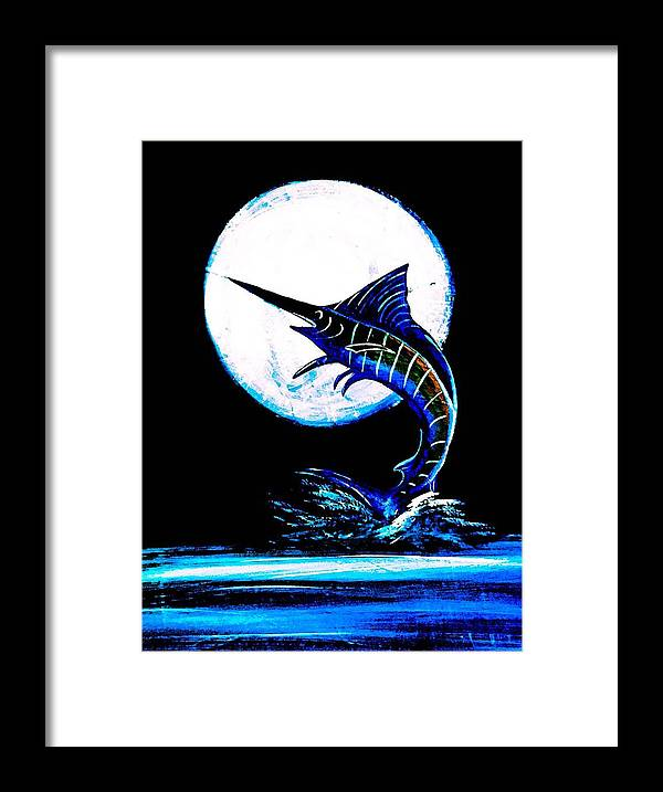 Moon And Blue Marlin Framed Print featuring the painting Marlin Moonlight by Barry Knauff