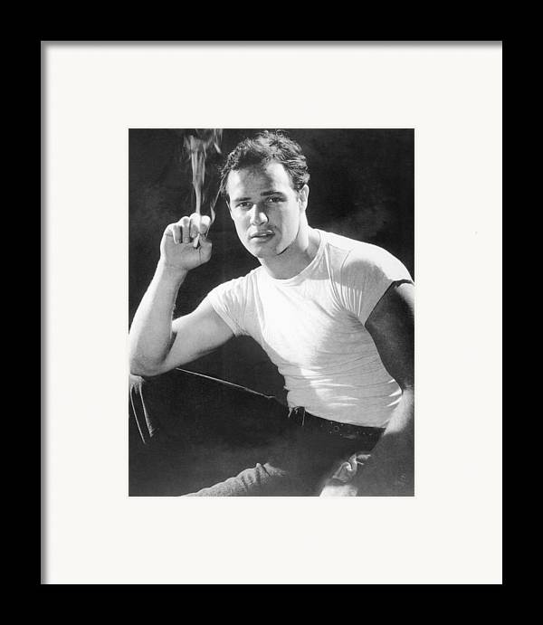 1950s Fashion Framed Print featuring the photograph Marlon Brando, Portrait From A by Everett