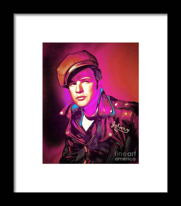 Marlon Brando Framed Print featuring the photograph Marlon Brando The Wild One 20160116 by Wingsdomain Art and Photography