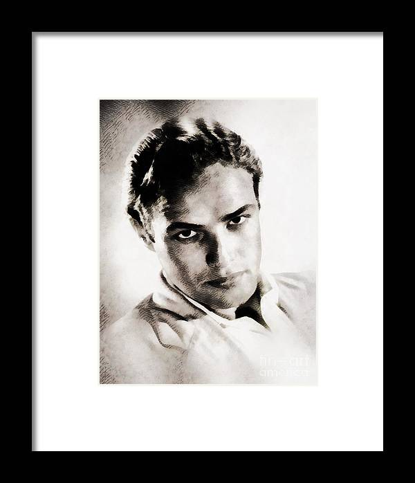 Hollywood Framed Print featuring the painting Marlon Brando, Vintage Actor by John Springfield