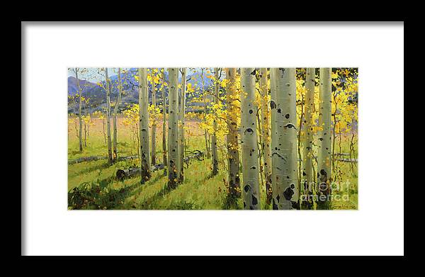 Aspen Trees Birch Trees Gary Kim Oil Print Art Print Woods Fall Trees Autumn Season Panorama Sunset Beautiful Beauty Yellow Red Orange Fall Leaves Foliage Autumn Leaf Color Mountain Oil Painting Original Art Horizontal Landscape National Park America Morning Nature Wallpaper Outdoor Panoramic Peaceful Scenic Sky Sun Time Travel Vacation View Season Bright Autumn National Park South America Clouds Cloudy Landscape Mist Misty Natural Peak Peaks New Painting Oil Original Vibrant Texture Reflections Framed Print featuring the painting Maroon Creek by Gary Kim
