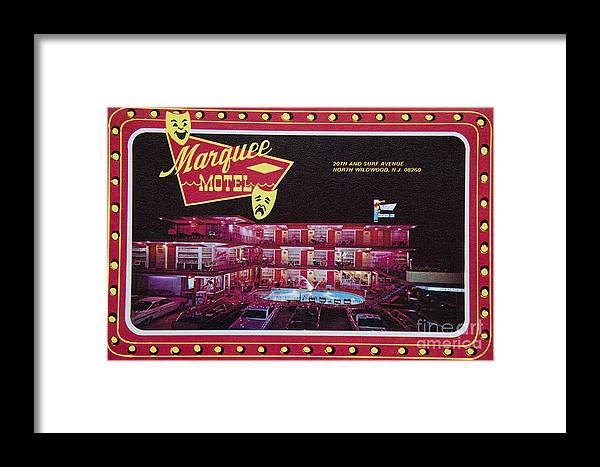Marquee Motel Framed Print featuring the photograph Marquee Motel 1960's Wildwood, Nj, Copyright Aladdin Color Inc. by Retro Views