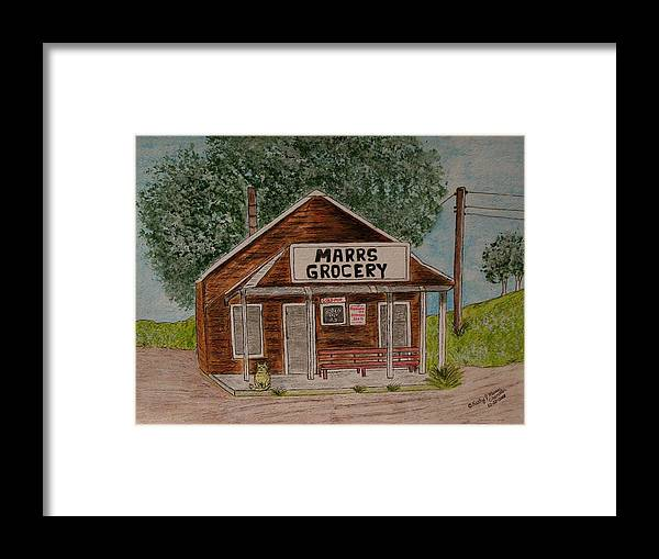 Marrs Framed Print featuring the painting Marrs Country Grocery Store by Kathy Marrs Chandler