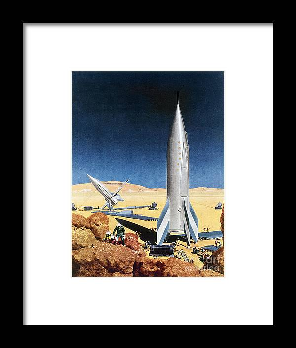 1950s Framed Print featuring the drawing MARS MISSION, 1950s by Chesley Bonestell