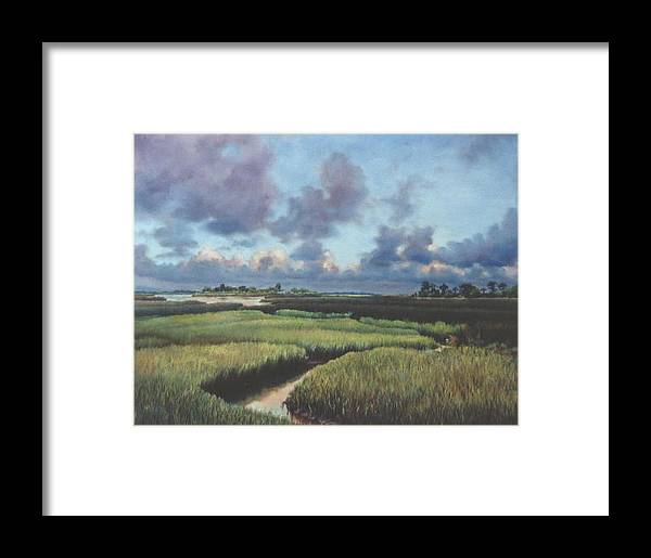 Water Framed Print featuring the painting Marsh Dawn by Marion Hylton