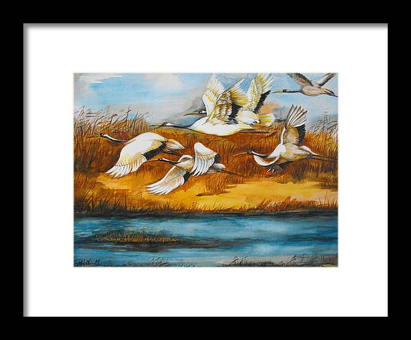 Nature Framed Print featuring the painting Marsh Flight by Min Wang