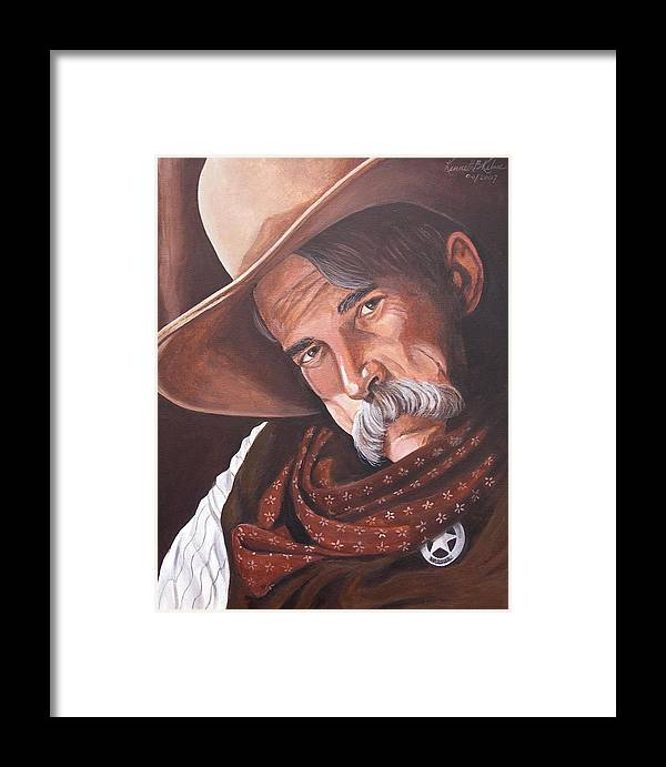 Cowboy Framed Print featuring the painting Marshall Bill Speaks by Kenneth Kelsoe