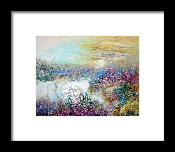 Two Herons Dancing In An Expressionistic Moonlit Marsh Framed Print featuring the painting Marshland Ballet by Sarah Wharton White