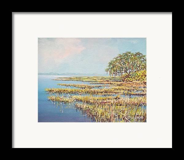 Marsh. Nature Framed Print featuring the painting Marshland by Sinisa Saratlic