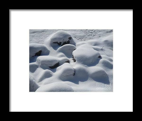 Snow Framed Print featuring the photograph Marshmallow Rocks by Sarah Berkner