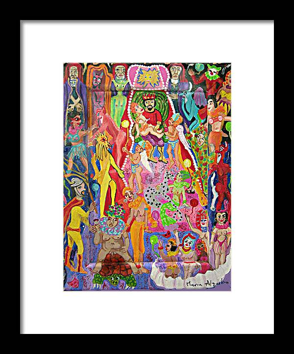 Erotic Framed Print featuring the painting Marti Gras by Maria Alquilar