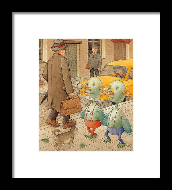 Martians Ufo Cat Street Fantastic Framed Print featuring the painting Martians by Kestutis Kasparavicius