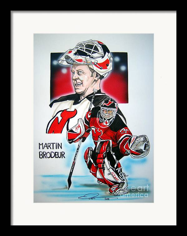 Nhl Framed Print featuring the painting Martin Brodeur by Dave Olsen