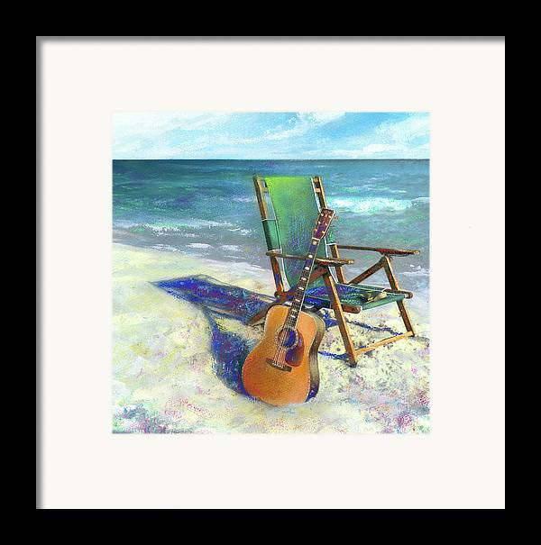 Guitar Framed Print featuring the painting Martin Goes To The Beach by Andrew King