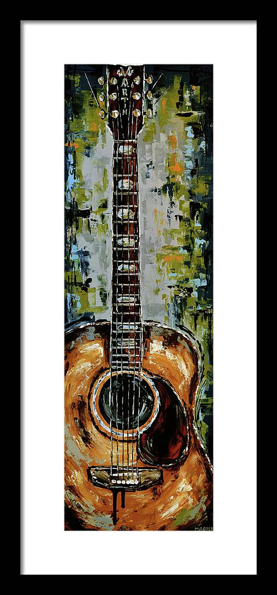 Guitar Framed Print featuring the painting Martin by Magda Magier
