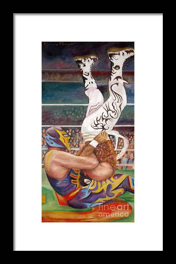 Lucha Libre Framed Print featuring the painting Martinete by Nancy Almazan