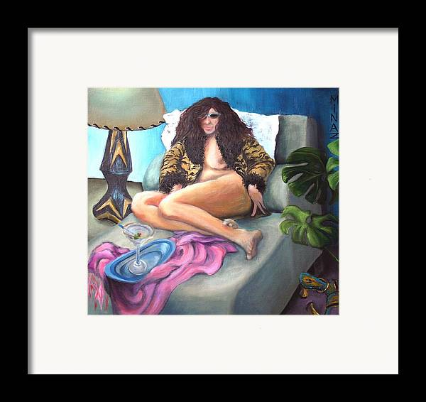 Nude Framed Print featuring the painting Martini Eclectic by Minaz Jantz