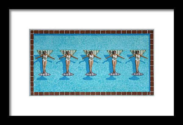 Pool Framed Print featuring the painting Martini Girls by Cory Clifford