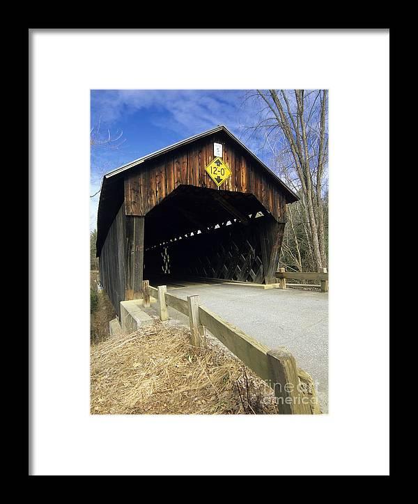 Bridge Framed Print featuring the photograph Martinsville Covered Bridge- Hartland Vermont Usa by Erin Paul Donovan