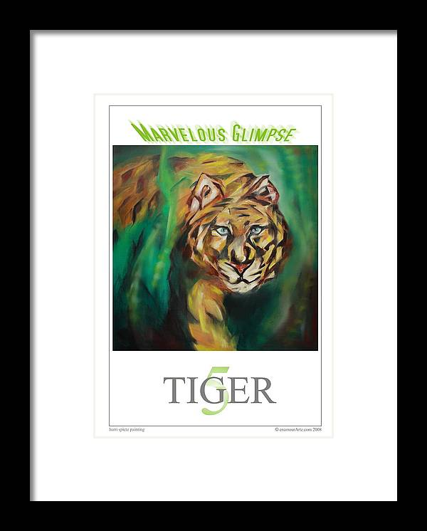 Tiger Framed Print featuring the painting Marvelous Glimpse by Harri Spietz