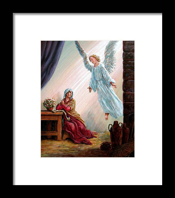 Angel Framed Print featuring the painting Mary and Angel by John Lautermilch