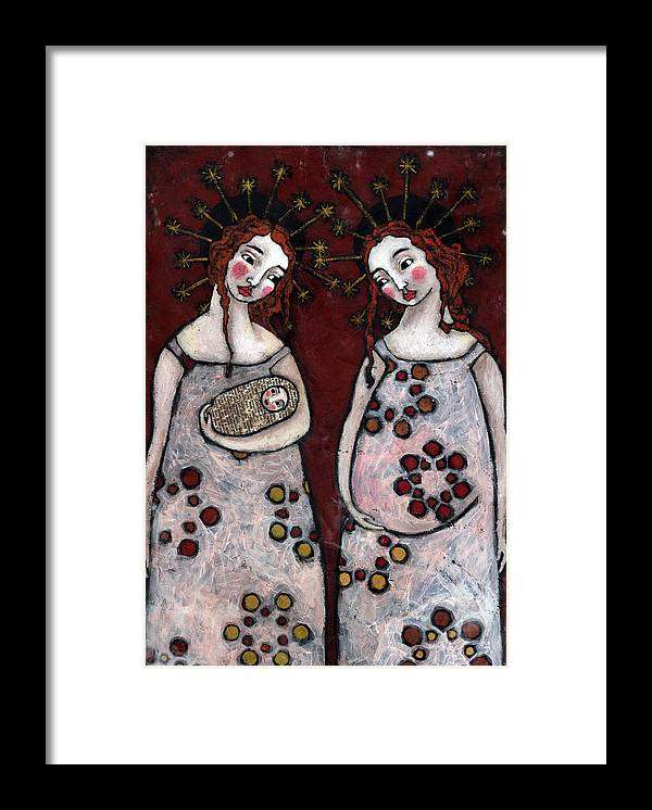 Angel Framed Print featuring the painting Mary And Elizabeth 2 by Julie-ann Bowden