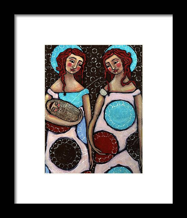 Angel Framed Print featuring the painting Mary And Elizabeth by Julie-ann Bowden
