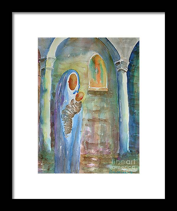 Watercolor Framed Print featuring the painting Mary And The Child by Marisa Gabetta