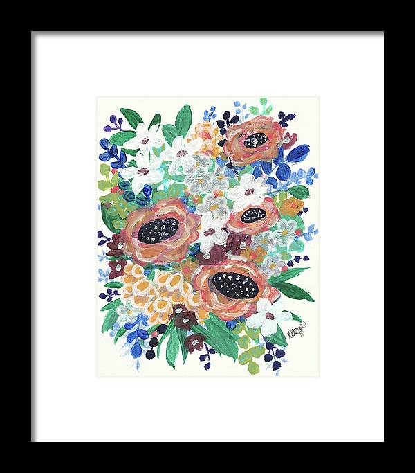 Abstract Floral Painting Framed Print featuring the painting Mary Delores by Katie Barnes