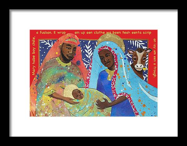 Mary And Joseph Framed Print featuring the painting Mary Habe Boy Chile by Natalie Daise