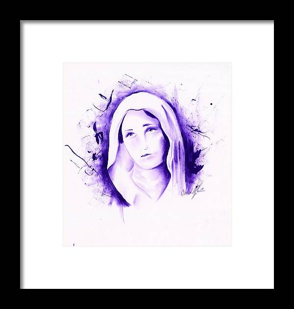 Mary Framed Print featuring the drawing Mary by John Paul Granillo