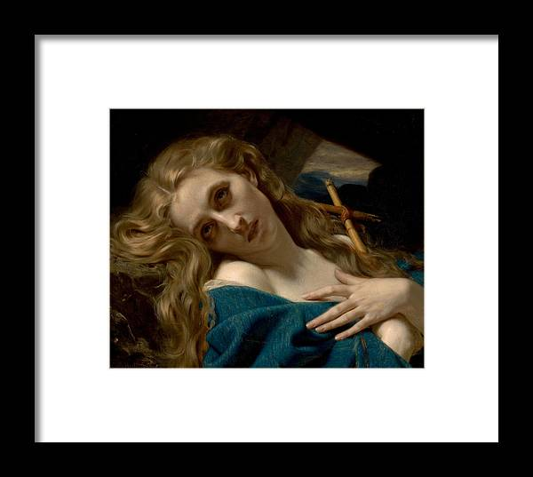 Merle Hughes Framed Print featuring the digital art Mary Magdalene In The Cave by Hugues Merle