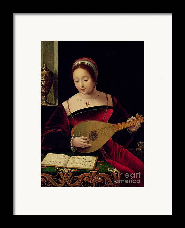 Mary Framed Print featuring the painting Mary Magdalene Playing The Lute by Master of the Female Half Lengths